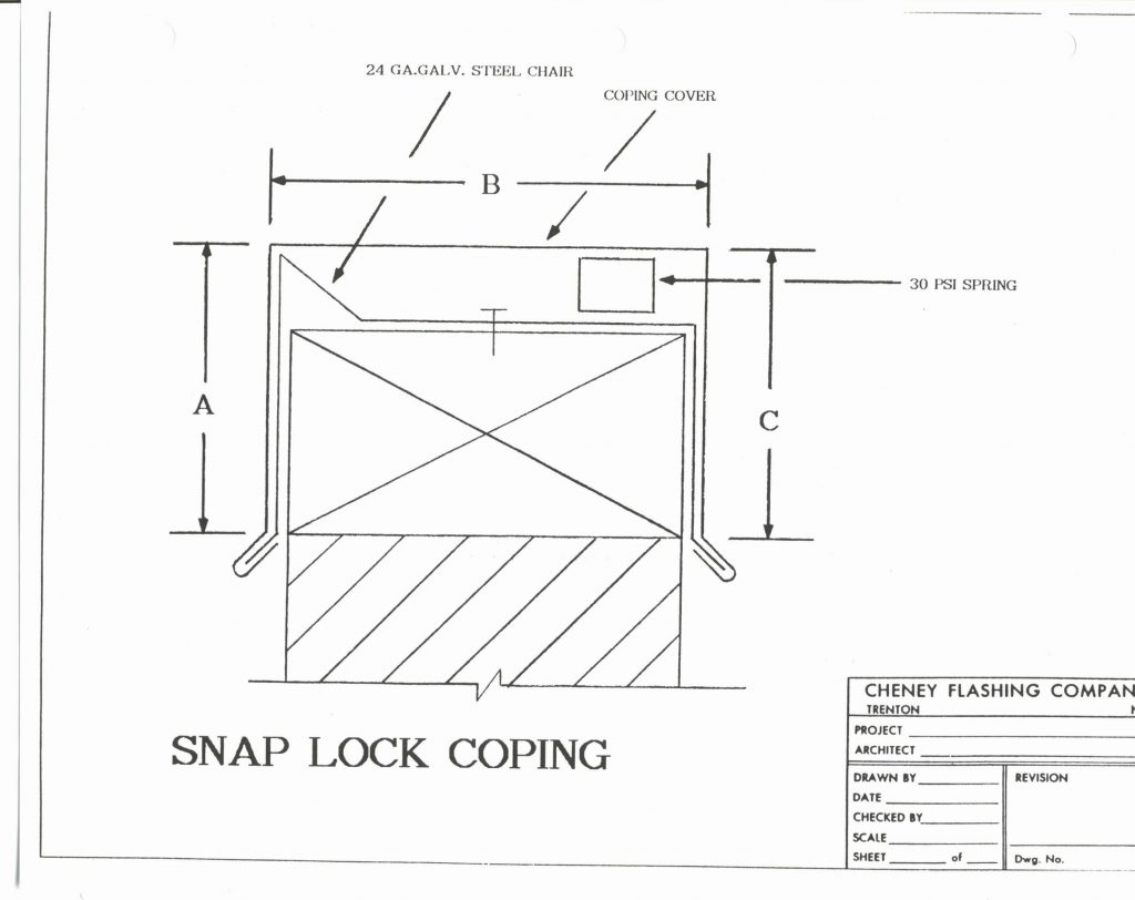 Snap Lock Coping Cheney Flashing